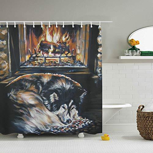 Una Stowe Fireplace Alaskan Home Decor Shower Curtain Fabric Bathroom Decor Set with Hooks 59 ¡Á 71'''' by Una Stowe