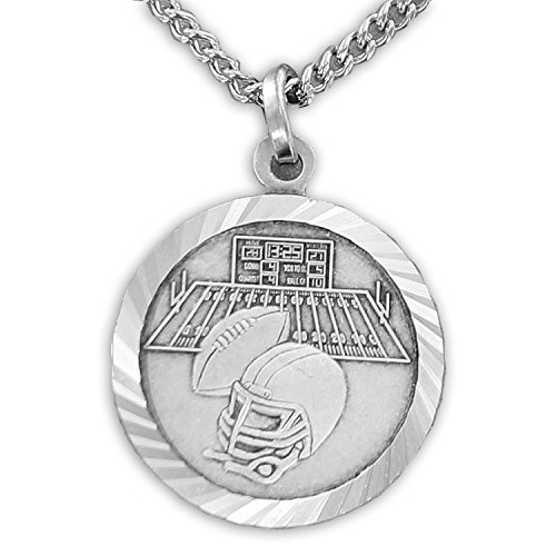 TrueFaithJewelry Sterling Silver Football Sports Medal with Saint Christopher Back, 3/4 - Medal Football Christopher