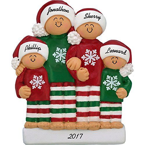 Family in Pajamas Personalized Christmas Ornament (Family of 4) - Handpainted Resin - 4