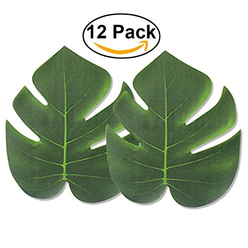 (E-lishine Artificial Tropical Leaves 8- Inch Simulation Leaf for Hawaiian Party Jungle Beach Theme Decorations for Birthdays, Prom, Events,)