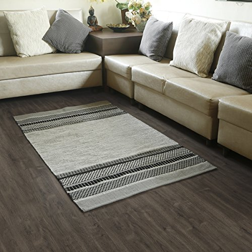 Fathers Day Gifts Cotton Tribal Area Rug for Living Room Handmade Rugs With an elegant design in Grey Black Color for Kitchen Entry Way Laundry Room a…