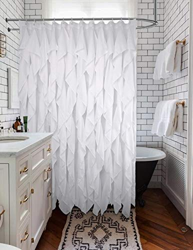 Volens White Ruffle Shower Curtain Farmhouse Fabric Cloth Shower Curtains for Bathroom, 72x72 in Long - WHITE SHOWER CURTAIN ❤️ Keep Privacy: No see through to provide a relax and private space, have your own space when you take a bath to enjoy yourself. The waterfall texture perfect to decor your farmhouse theme bathroom. FABRIC SHOWER CURTAIN ❤️ Quality Material: Made by 100% polyester to ensure quick dry and durability. Lightweight, soft touch and detailed workmanship, long service life. LONG SHOWER CURTAIN ❤️ Large Enough: It measures W71 x L71 inch, easy to fit most of bathrooms and tubs. Full coverage to spread around and prevent water from splashing onto the floor. - shower-curtains, bathroom-linens, bathroom - 51KeSXsYf7L -