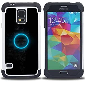 GIFT CHOICE / Defensor Cubierta de protección completa Flexible TPU Silicona + Duro PC Estuche protector Cáscara Funda Caso / Combo Case for Samsung Galaxy S5 V SM-G900 // Dark Moon Blue Ring Mysterious //