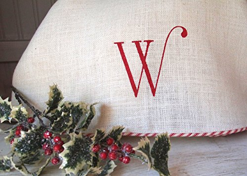 72'' Oversize Extra Large White Burlap Christmas Tree Skirt with Red and White French Ticking, Burlap Tree Skirt, Optional Personalization by The Burlap Cottage®