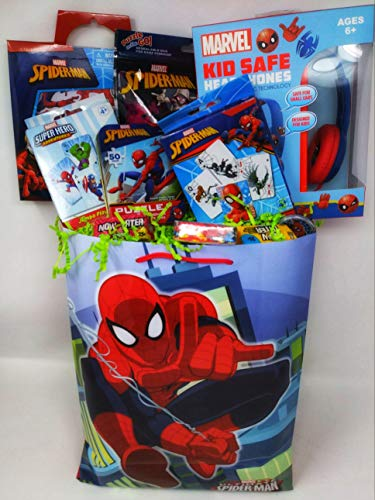 Happy Premade Spiderman Spider-man Easter Birthday Baskets Kids Girls Boys Girl Toddlers Gift Egg Toddler Gifts Themed Set Artificial Grass Decorations Toys Stuffers Bag Package Included Party B for $<!--$45.99-->