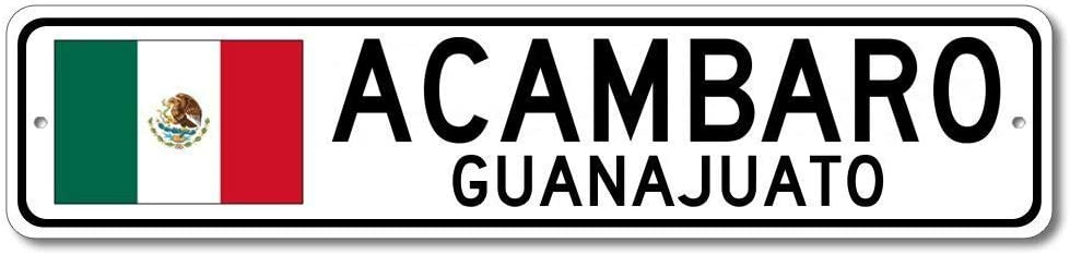 Emily Quality Aluminum Sign Acambaro Guanajuato Mexican Flag Sign Mexico Custom Flag Sign Gift for Room Wall Yard Garage Fence Gardern Decor