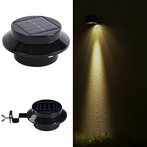 Solar Lights Outdoor, Wireless Sensor Solar Lights with Wide Lighting Area, Easy Install Waterproof Security Lights for Front Door, Back Yard, Driveway-Warm White by JiiJian