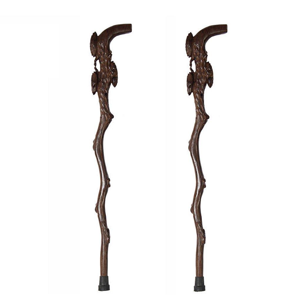 NUBAO カドゥスの老人の木の杖杖の老人の供給3パターン木の彫刻の長さ90cm(35.43インチ)簡単に切り捨てる (色 : A, サイズ さいず : 二) B07CTNLJYM A 二