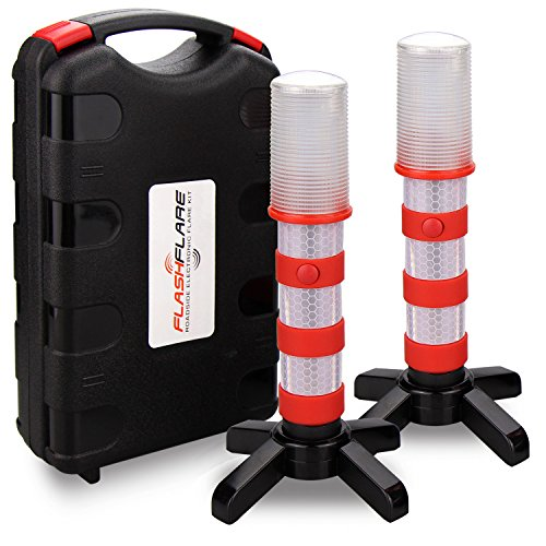 2 Pack LED Emergency Roadside Flares, BonyTek Roadside Auto Emergency Safety Strobe Warning Light Beacon Flare with Solid/Strobe/Flashlight Modes, Magnetic Base, Upright Stand, Gift Box - Red