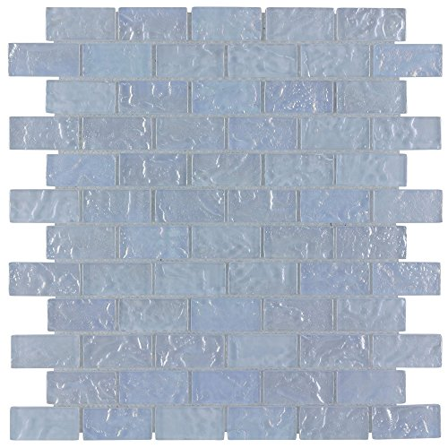 MTO0086 Classic Brick Gray Light Blue Frosted Glossy Glass Mosaic Tile