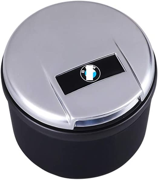 YYD Car Ashtray Car Ashtray with Lid LED Light Indicator for BM/_W 5 Series 3 Series 7 Series 1 Series x1x3x5,Silver,BM/_W logo