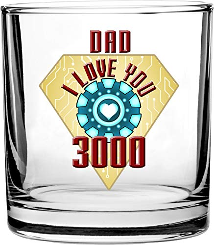 Dad I Love You 3000 Metal Heart Reactor Film Parody Father's Day - 3D Color Printed Scotch Whiskey Glass 10.5 oz]()