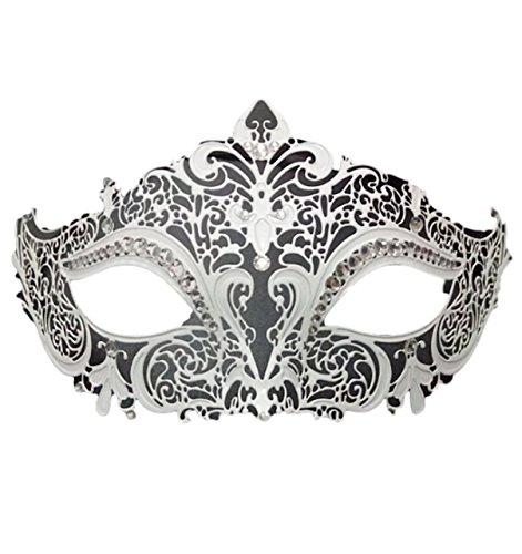 P-LINK Venetian Mask Costume Cosplay Party Masquerade Mask Shiny Metal Rhinestone (White)
