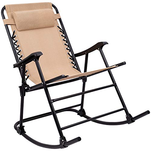 Furniewell Folding Rocking Chair Outdoor Mesh Zero Gravity Chair Patio Lawn Portable Recliner with Headrest for Camping Fishing Beach Pool (Beige)