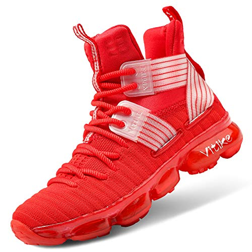 Boys Basketball Culture Shoes Air-cushion Comfortable Boys Shoes Breathable High Top Casual Fashion Sneakers for Boys Non-slip Little Kids Girls Basketball Shoes Running Kids Tennis Shoes Size 1 Red