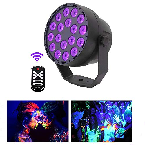 Led Par Can 18LED DMX512 UV LED Stage Light Ultraviolet Black Light 7 Lighting Modes Glow in The Dark with Sound Activated IR Remote Control for Glow Party Theater DJ Stage Lighting