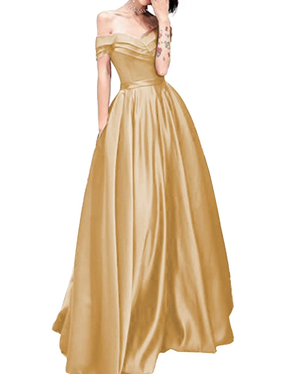 Champagne JAEDEN Prom Dresses Long Evening Dresses Formal Satin Prom Gowns Off The Shoulder Evening Dress A Line Prom Dress