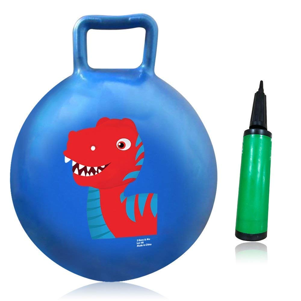 3 Bees Me Bounce Ball with Handle Dinosaur Hopper Ball for Kids Age 3 to 6 Years with Hand Pump Blue Bouncy Ball Hippity Hop Toy