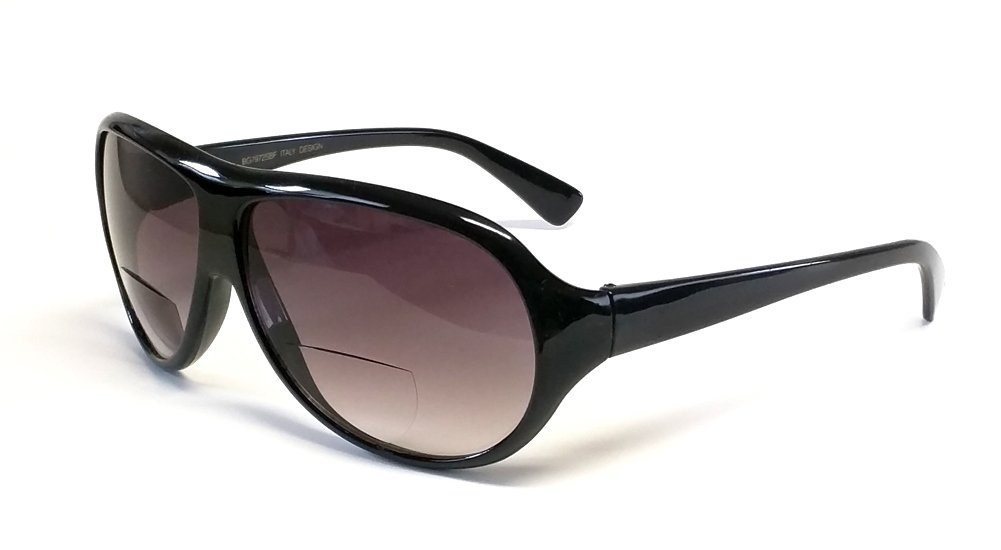 Calabria Aviator Bi-Focal Reading Sunglasses in Black +2.50 by Calabria