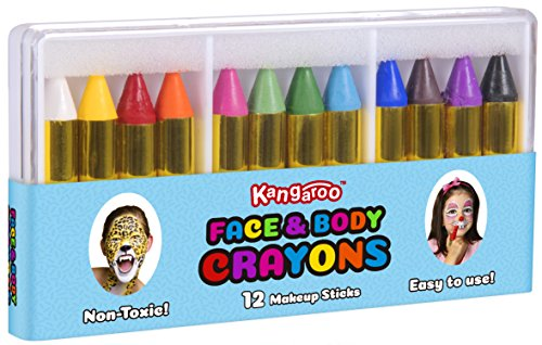 [Kangaroo's Face Paint and Body Crayons - 12 Colors] (Gold Body Paint Costume)