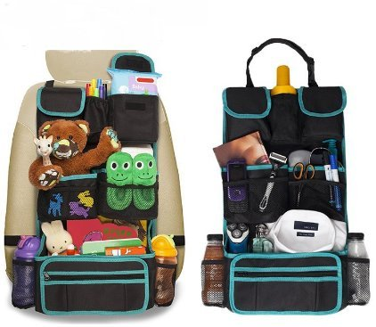 Back Seat Car Organizer - Kids Storage Compartment - Holds Tablets - Ipads - Cups - Bottles -Toys - Stuffed Animals - Snacks - Detachable - Adjustable - Removable Documents Wallet ()
