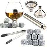 Image of Chilling Rocks / Stones (9) + Discreet Flask (1) [Whisky Lover Gift Set] + Funnel (1) + Tongs (1) [FDA Approved]