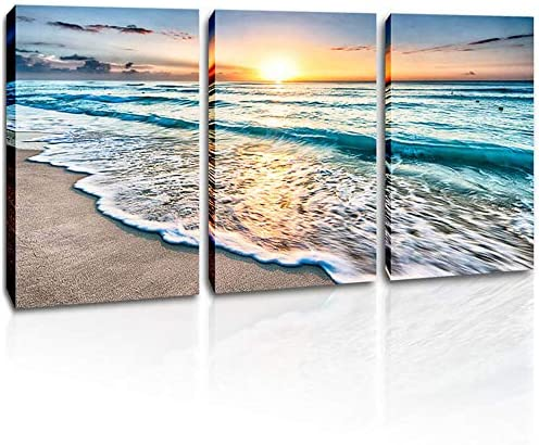 Amazing Sunset Painting Sea Waves Print Home Decor Wall Art choose your size