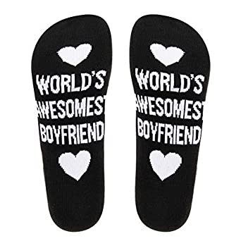 Funny Socks with Saying Worlds Awesomest Boyfriend Girlfriend Cotton Crew Socks Boyfriend Girlfriend Gift Socks