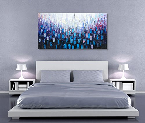 Seekland art hand painted abstract acrylic painting contemporary canvas wall art modern for How much to paint a two bedroom apartment