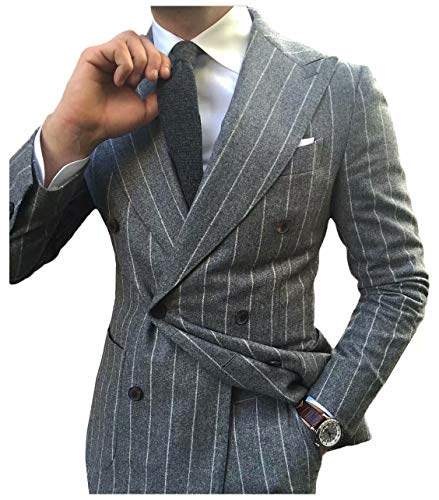 Jingmo Tweed Tuxedos Slim Fit Suit Set Double Breasted Formal 2 Pieces Wool Suits for Men Stripes (Jacket+Pants)