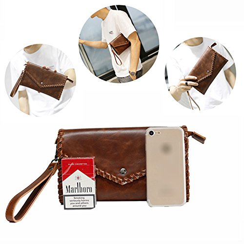 Men Bracelet Capacity Bag Leather Handmade Large Cover Aiurbag Wallet Pu pqHttw