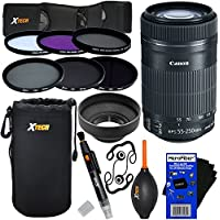 Canon EF-S 55-250mm F4-5.6 IS STM Lens for Canon SLR Cameras (International Version) + ND Filters ND2, ND4, ND8 + 11pc Bundle Deluxe Accessory Kit w/ HeroFiber Cleaning Cloth