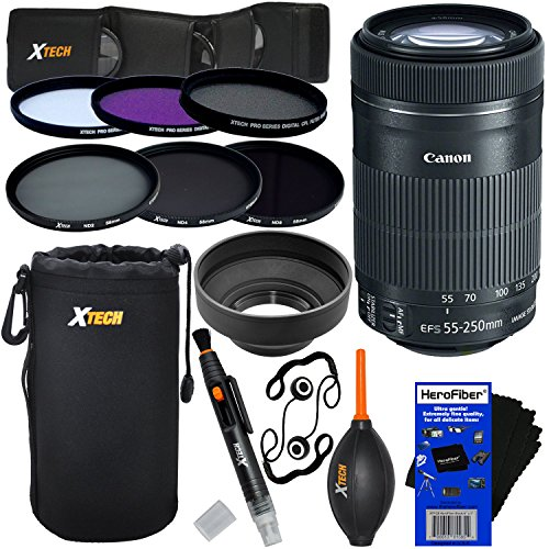 Canon EF-S 55-250mm F4-5.6 IS ''STM'' Lens for Canon SLR Cameras (International Version) + ND Filters ND2, ND4, ND8 + 11pc Bundle Deluxe Accessory Kit w/ HeroFiber Cleaning Cloth by HeroFiber