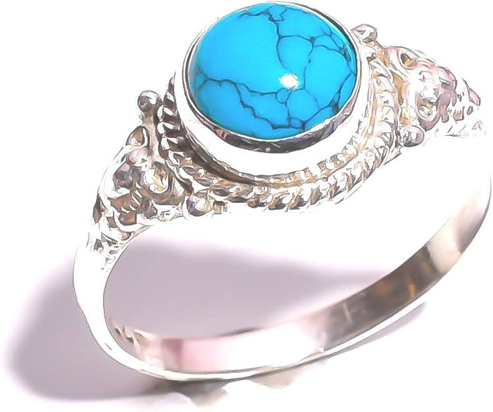 mughal gems & jewellery Anillo de Plata esterlina 925 Anillo de joyería Fina de Piedras Preciosas de Turquesa tibetana Natural para Damas (Tamaño 6.25 U.S)
