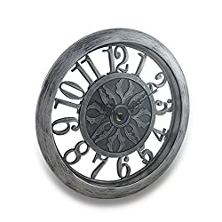 Plastic Wall Clocks Antique Finish Cut Out Open Frame Design Wall Clock - 12 X 12 X 1.5 Inches - Silver - Style # 32532