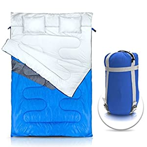 NTK KUPLE Double 2 in 1 Sleeping Bag with 2 Pillows and a Carrying Bag with Compressor Straps for Camping, Backpacking, Hiking.