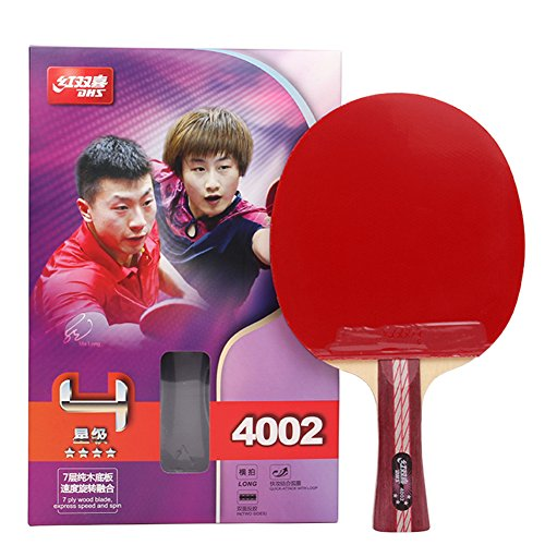 DHS 4-Star 4002 Shake Hand Premium Table Tennis Racket Ping Pong Paddle Blade Inverted Rubber with Carry Case