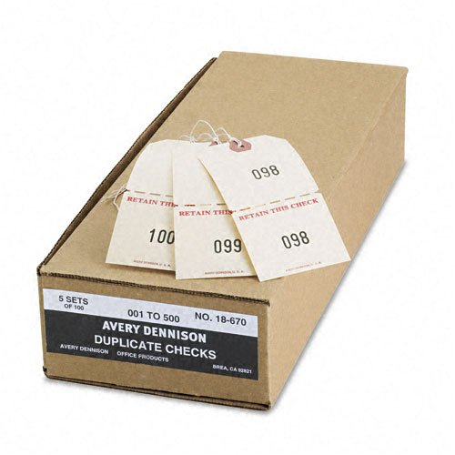 Avery : Numbered Perforated Paper/Twine Claim Checks, 4 3/4 x 2 3/8, Manila, 500 per Box -:- Sold as 2 Packs of - 5 - / - Total of 10 -