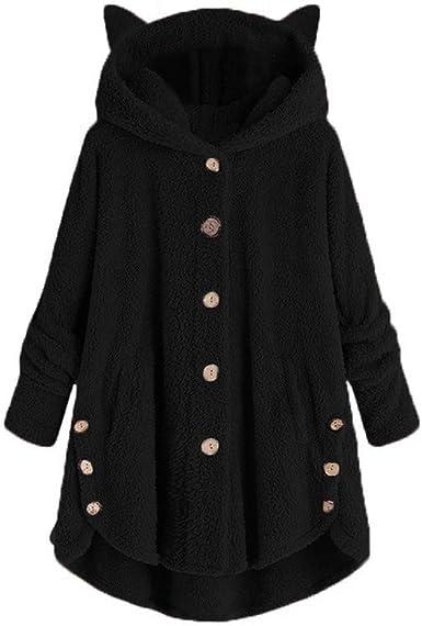 US Womens Teddy Bear Hoodie Sweater Ladies Faux Fur Coat Jumper Warmer S-XXL
