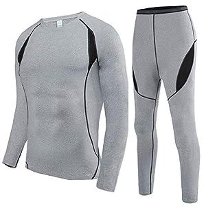 HAINES Ensemble de sous-Vêtements Thermiques Homme Base Layer sous-Vêtements Ski pour L'entraînement Randonnée Size S…