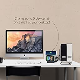 Satechi 5-Port USB Charging Station Dock with Qualcomm Certified Quick Charge 2.0 for iPhone 6 Plus/6/5S/5C/5, iPad Pro/Air/Mini/3, Samsung Galaxy S6 Edge/S6/S5/Note/Note2/Tab (Black)