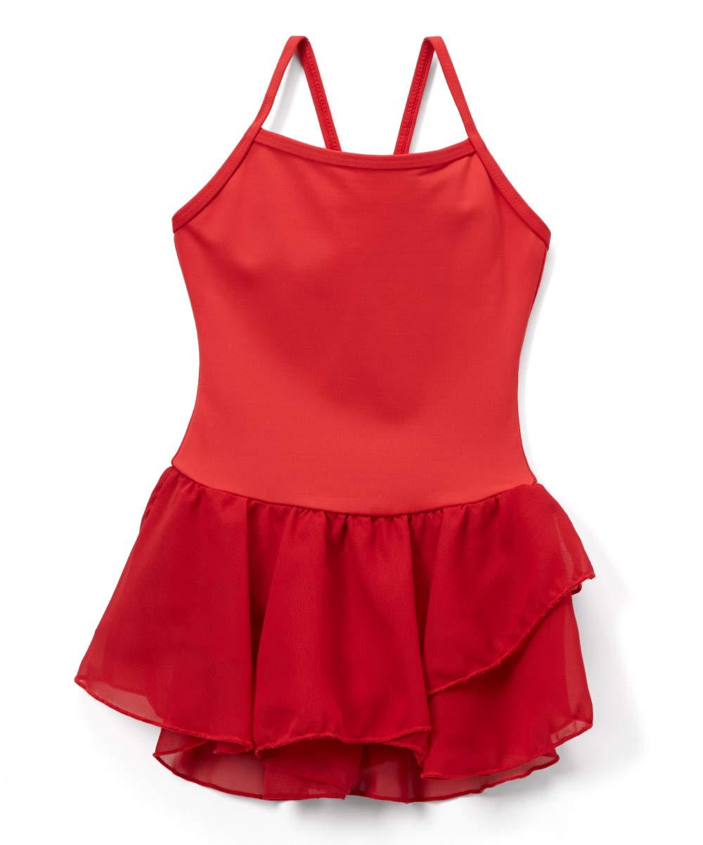 692a0b155 Elowel Kids Toddler Girls Basic Skirted Camisole Leotard Red Size 2-4