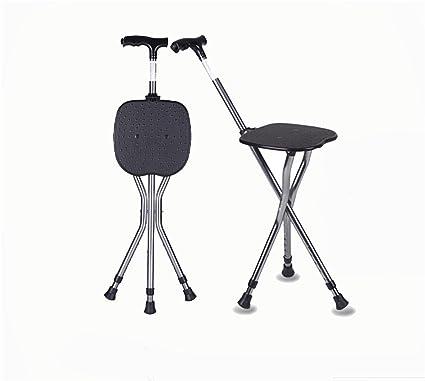 GAYY Ajustable Foldingtripod masaje caminar silla de caña taburete masaje caminar palo con asiento