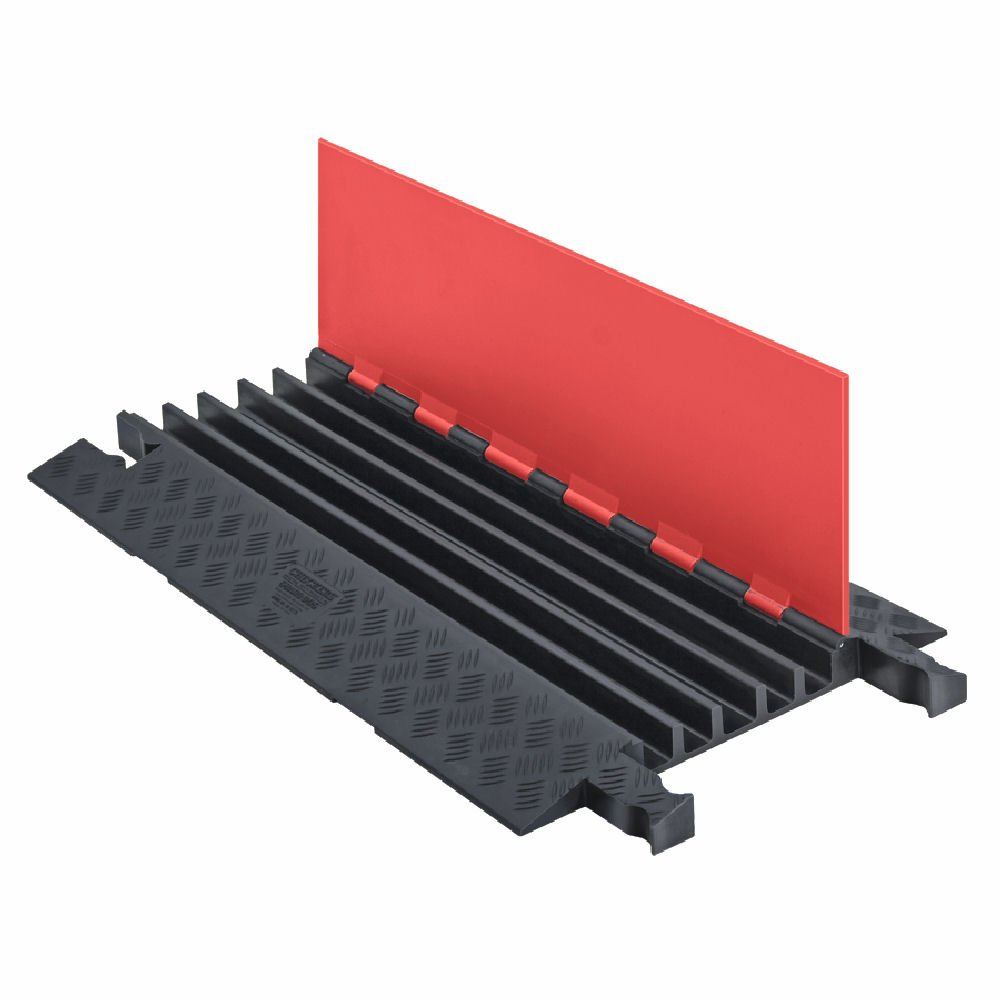 Guard Dog GD5X125-O/B Polyurethane Heavy Duty 5 Channel Cable Protector with Connector, Orange Lid with Black Ramp, 36'' Length, 19.75'' Width, 1.87'' Height