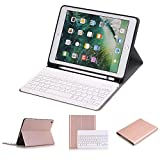 iPad 9.7 inch 2018&2017 Keyboard Case - Slim Folio Cover Removable Detachable Wireless Bluetooth Keyboard with Apple Pencil Holder for iPad Air Air 2 iPad 6th 5th Gen (Rose Gold)