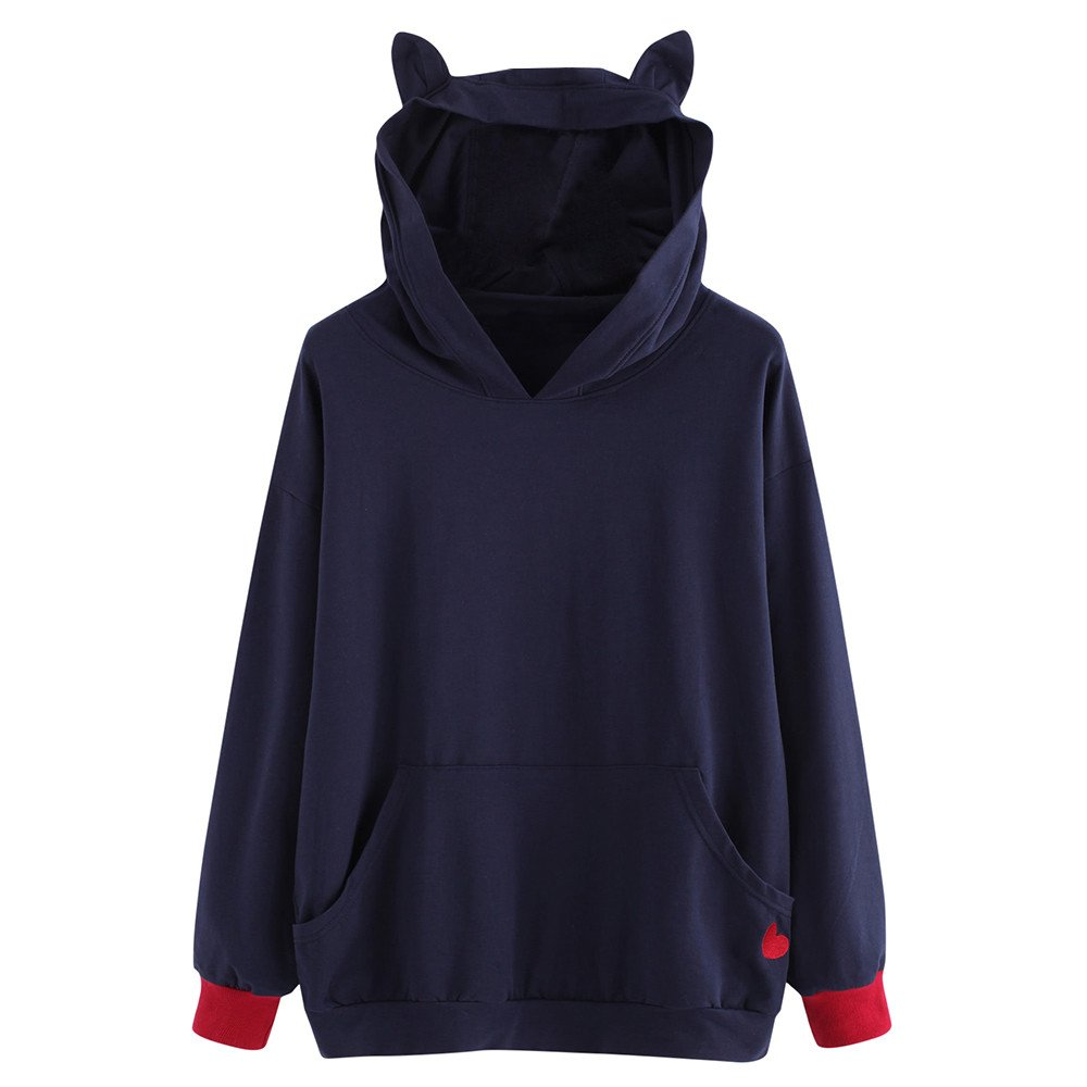 Challyhope Women Heart Embroidered Cat Ear Hoodie Baggy Sweatshirt Pockets Pullover (M, Blue)