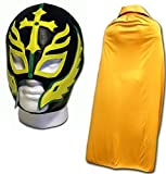 WRESTLING MASKS UK Men's Son Of The Devil Caribe Fancy Dress Mask With Cape One Size Gold