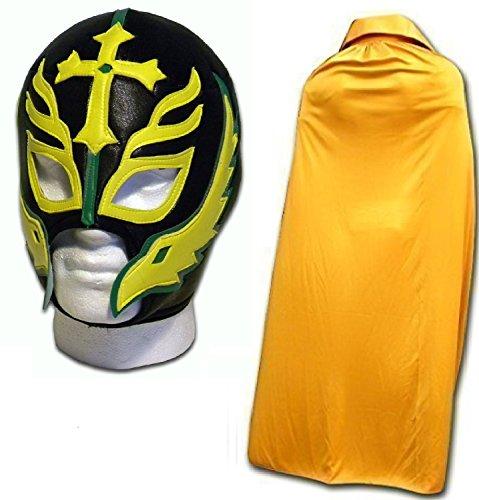 WRESTLING MASKS UK Men's Son Of The Devil Caribe Fancy Dress Mask With Cape One Size Gold by Wrestling