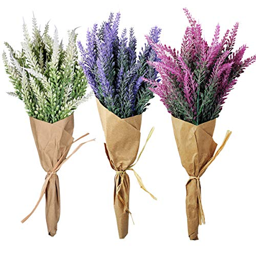 MARLLES Artificial Flowers Lavender Bouquet Lifelike Natural Fake Plant for Mother's Day, Anniversary, Birthday, Graduation, Wedding(1PCS Rose Red Lavender Bouquet) (Lavender Bouquet Rose)
