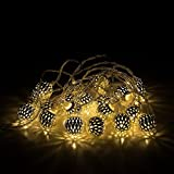 Battery Operated 20 Warm White Decorative Silver Metal Lattice Maroq Lantern Globe Shaped LED Fairy String Lights